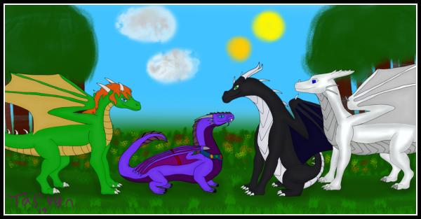 A group pic with Jafira as Kora/Rashau alongside Atmora and Tasvyn. Drawn by Tasvyn - <a href=
