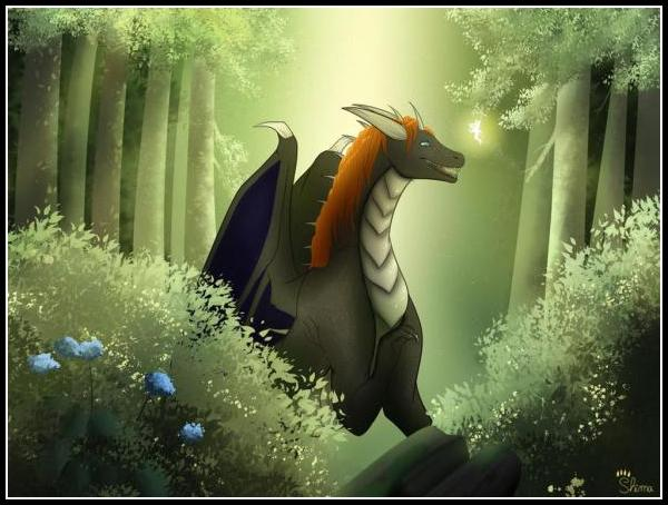 """Young dragons are curious by nature, in an endless world full of magic and things to explore Korashau stops by a forest and starts perceiving the fragrance of early spring flowers blooming all around. With a warmy sun heat fairies wake up and come to see what this big creature is doing, spring is coming for everyone! <br><br>Meet me at: <a href="