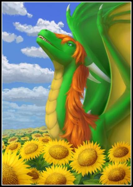 Rashau enjoys a summer day among sunflowers.<br><br>Finished YCH  <a href=